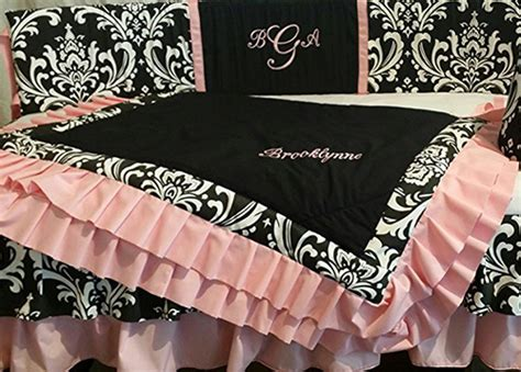 Pink And Black Damask Crib Bedding by Pink Black And White Damask Crib Bedding 1 Wall Decal