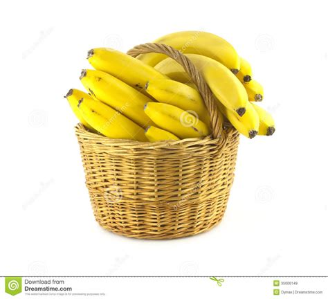 Yellow And White Kitchen - bananas in wicker basket isolated royalty free stock images image 35006149