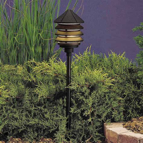 120v Landscape Lighting Kichler 15205bkt Six Groove 120v Three Tier Path Spread Light