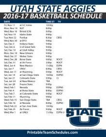 Ut Basketball Schedule Printable Utah State Basketball Schedule 2016 17