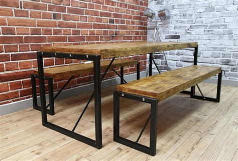bench style dining table uk industrial dining table with steel frames and reclaimed wood