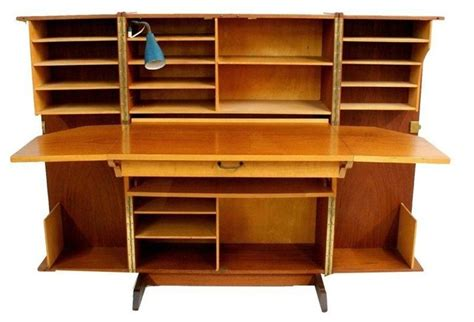 storage cabinet with fold out table pre owned danish modern teak fold out desk cabinet