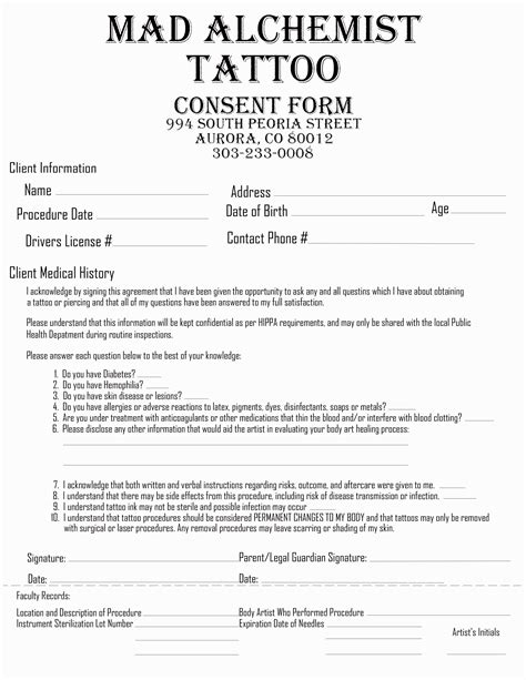 tattoo consent form consent forms mad alchemist