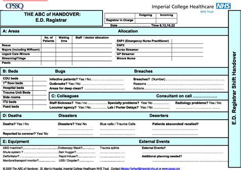 Exles Of Nursing Report Sheets the abc of handover a qualitative study to develop a new