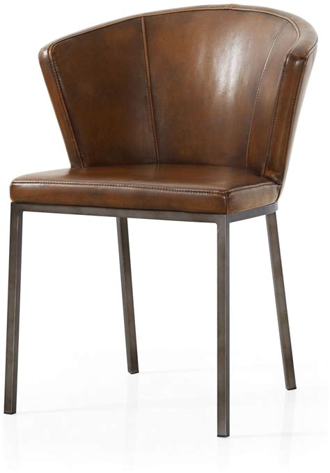 Curved Dining Chair Industrial Style Pair Of Brown Faux Leather Retro Curved Dining Chairs
