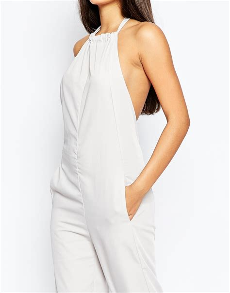 Jumpsuit Dian Tosca lyst asos high neck backless jumpsuit in gray
