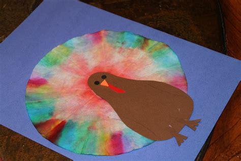 turkey crafts how to make coffee filter tie dye turkeys
