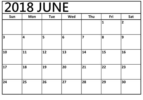 2018 June Calendar Printable Free Download Editable Template Blank Calendar Template 2018