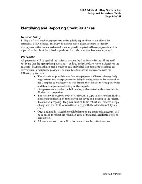 Mba Billing Services Inc by Billing Policy Procedure Guide