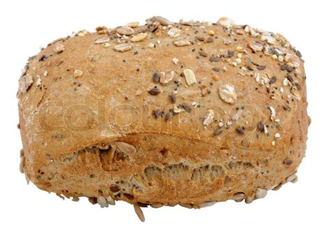 whole grains or no grains wholegrain bread roll isolated white background