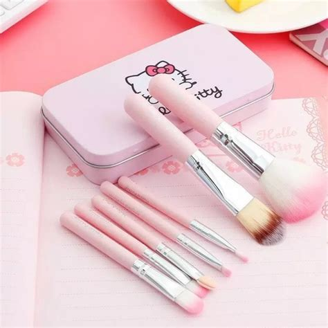 Tabung Brush Set kuas makeup make up tabung kaleng pink mini brush kit 7in1
