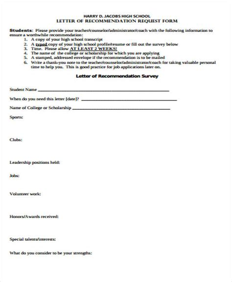 Scholarship Recommendation Letter From High School High School Recommendation Letter Sle 9 Exles In Word Pdf