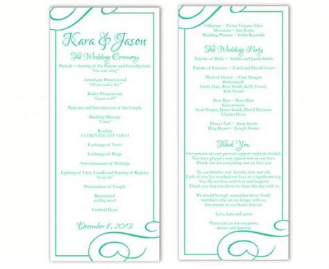 wedding program template word wedding program template diy editable text word file