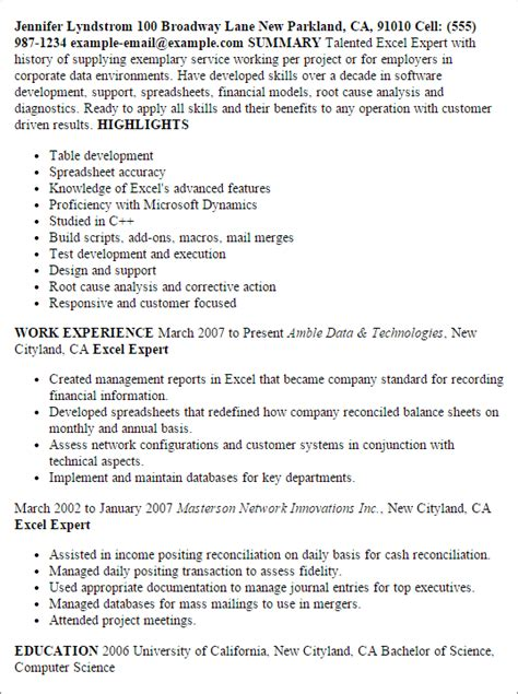 Excellent Resume Exle by Professional Excel Expert Templates To Showcase Your