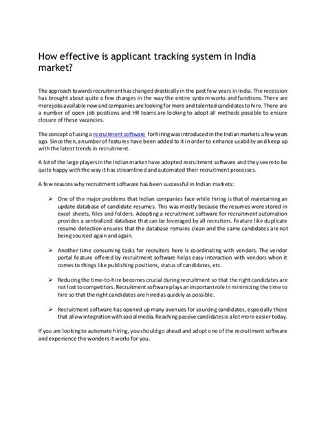 Applicant Tracking System India How Effective Is Applicant Tracking System In India Market