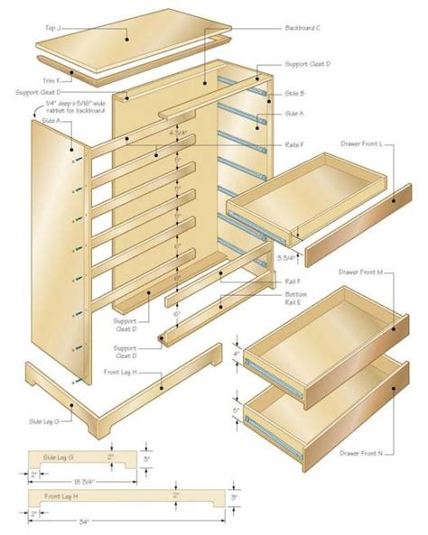 drawer plans woodworking chest illustration