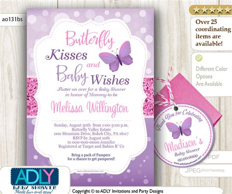 Butterfly Baby Shower Invitation by Purple Butterfly Baby Shower Invitations Xyz