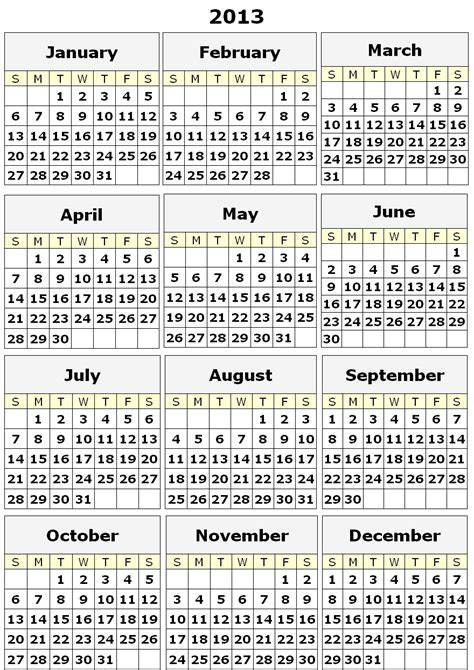 printable calendars yearly image gallery 2013 yearly calendar