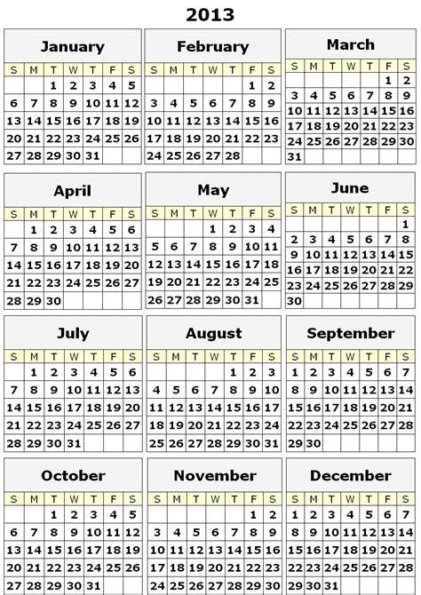 2013 printable calendar year view 2013 yearly calendar custom calendar maker