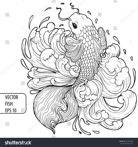vintage pattern sketch vintage handdrawing pattern fish vector illustration stock