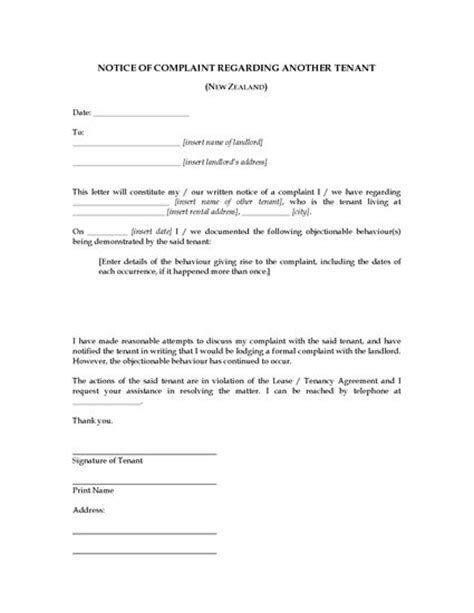 Tenancy Agreement Termination Letter Nz New Zealand Complaint Letter About Another Tenant Forms And Business Templates Megadox