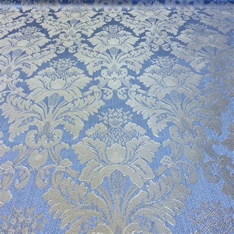 jacquard printable fabric jacquard damask print fabric baby blue for curtains and