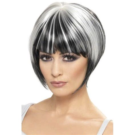 black lowlights in white gray hair perruque cheveux noirs avec des m 232 ches blanches