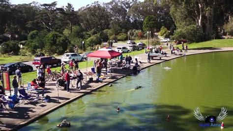 toy boat racing videos aerial view of spreckels lake rc boats golden gate park