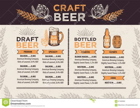 Beer Restaurant Cafe Menu Template Design Stock Vector Craft Menu Template