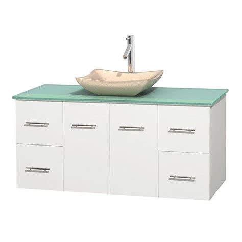 Green Glass Vanity Top by Wyndham Collection Centra 48 In Vanity In White With