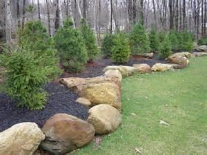 landscaping boulders boulder landscape on boulder retaining wall