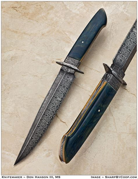 sunfish pattern knife don hanson custom knives custom damascus bowie gallery