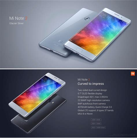 Xiaomi Mi Note 2 Global 6 Gb128 Gb Officegaming Hdselfie global version xiaomi note 2 6gb 128gb smartphone silver