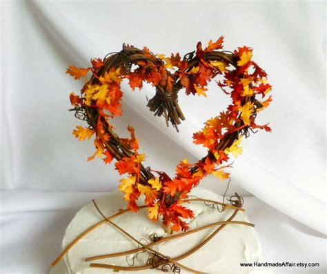 fall leaves cake decorations rustic cake topper fall wedding decorations