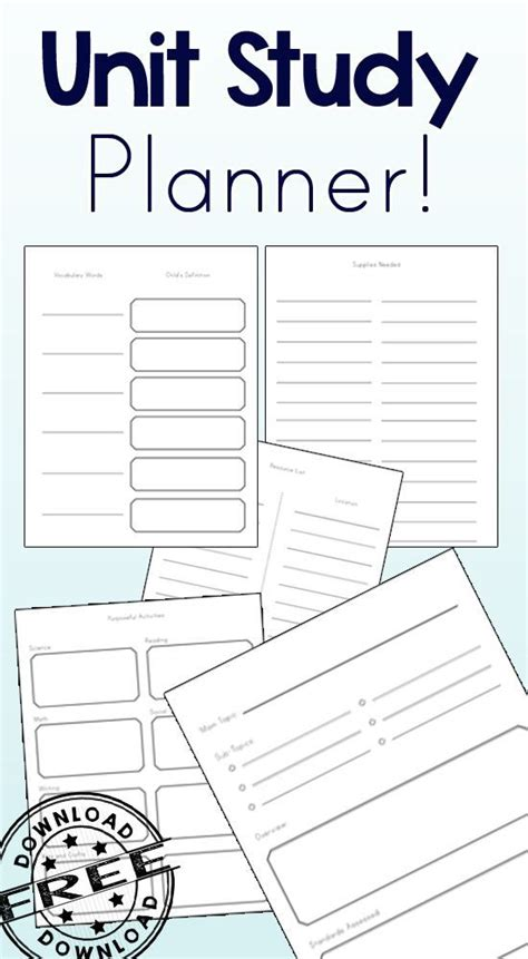 printable unit study planner 25 best ideas about study planner on pinterest college