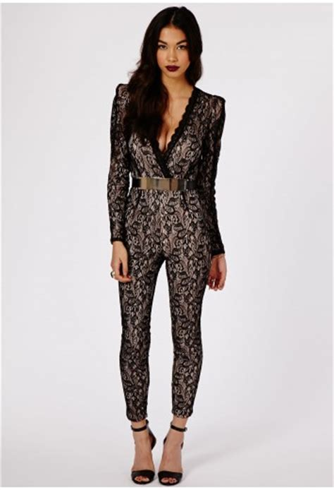 Belted Lattice Sleeve Jumpsuit enana lace v neck belted jumpsuit jumpsuits playsuits