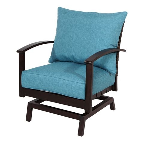 Outdoor Patio Chairs Shop Allen Roth Atworth 2 Count Brown Aluminum Patio Conversation Chair With Peacockblue