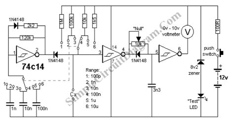 capacitance meter schematic diagram capacitance meter circuit simple circuit diagram