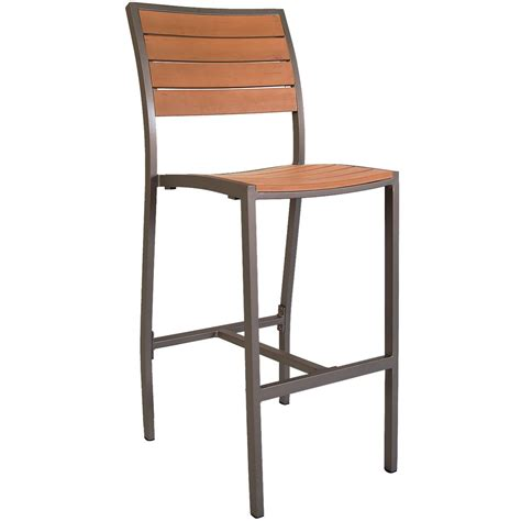 patio bar stools aluminum rust colored patio bar stool with plastic teak