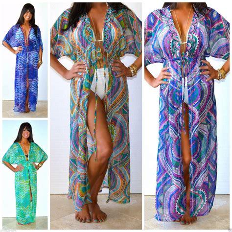 Daster Kimono India hippie chic bohemian printed maxi kimono duster cover up