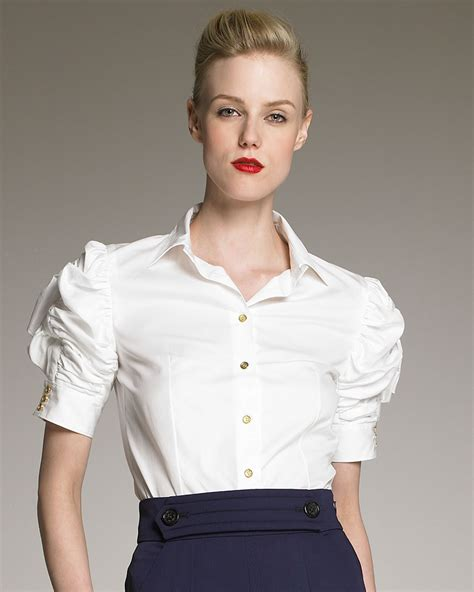 blouse st yves sabrina laurent ruched sleeve poplin blouse in white lyst