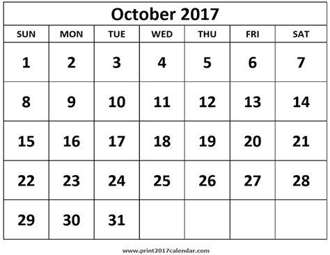 Calendar 2017 October Print Print October 2017 Calendar