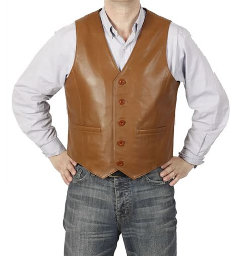 Classic Tan Leather Waistcoat From Simons Leather