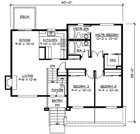 split level home plan 23441jd 1st floor master suite