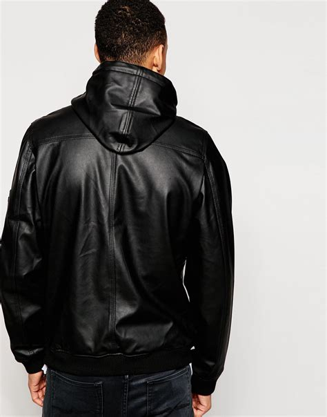 hooded leather jacket mens d struct beven faux leather hooded bomber jacket in black for lyst