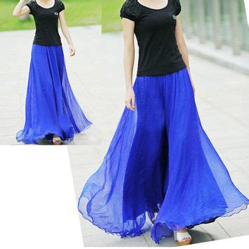 royal blue chiffon maxi skirt from happydressmakers