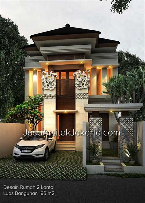 desain depan rumah lebar 8 meter desain rumah 2 lantai luas bangunan 193 m2 bp jacob di jakarta