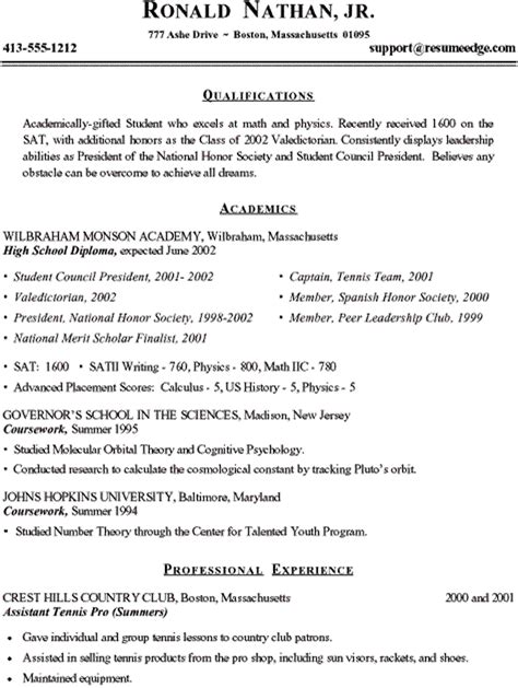 sle of student resume for college application 28 images 28 high school resume for college