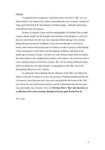 World War Ii Essay by Ee Extended Essay Is Christian S Bar Suit A Reflection Of T