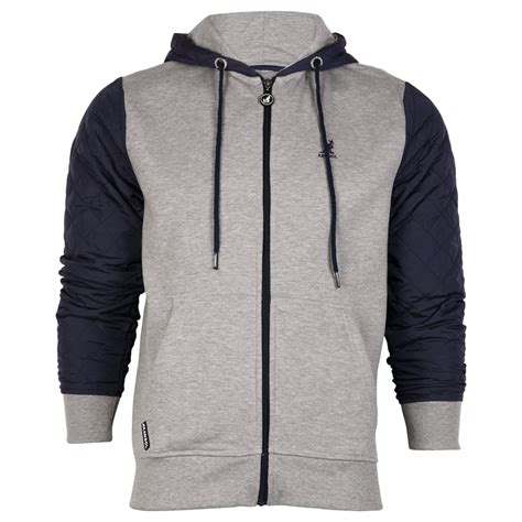 Mens Quilted Hoodie by New Mens Kangol Aker Quilted Sleeved Hooded Zip Up